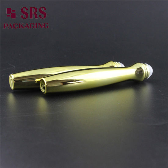 SRS8447 Metalized Gold Lxuxry Eye Cream Container 15ml Plastic Roller Bottle