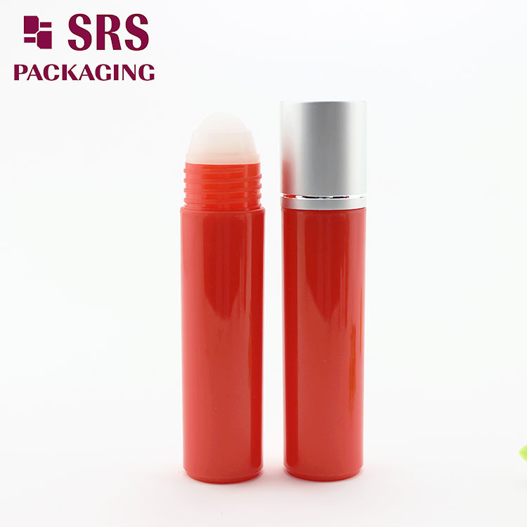 Glossy Red 30ml Plastic Hair Serum Bottle with Roller Ball