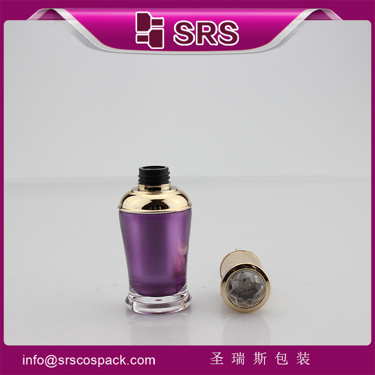 NP008 empty purple 8ml nail polish bottle with gold cap