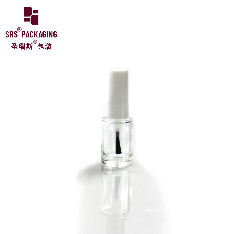 DIY Unique Clear Customized empty little mini glass 5ml 7ml UV Gel nail polish bottles with white cap