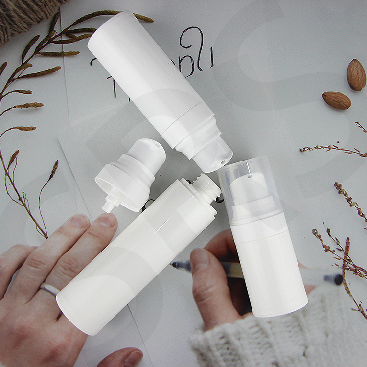 White color empty PP cosmetic 15ml 30ml 50ml round shape face cream airless bottle