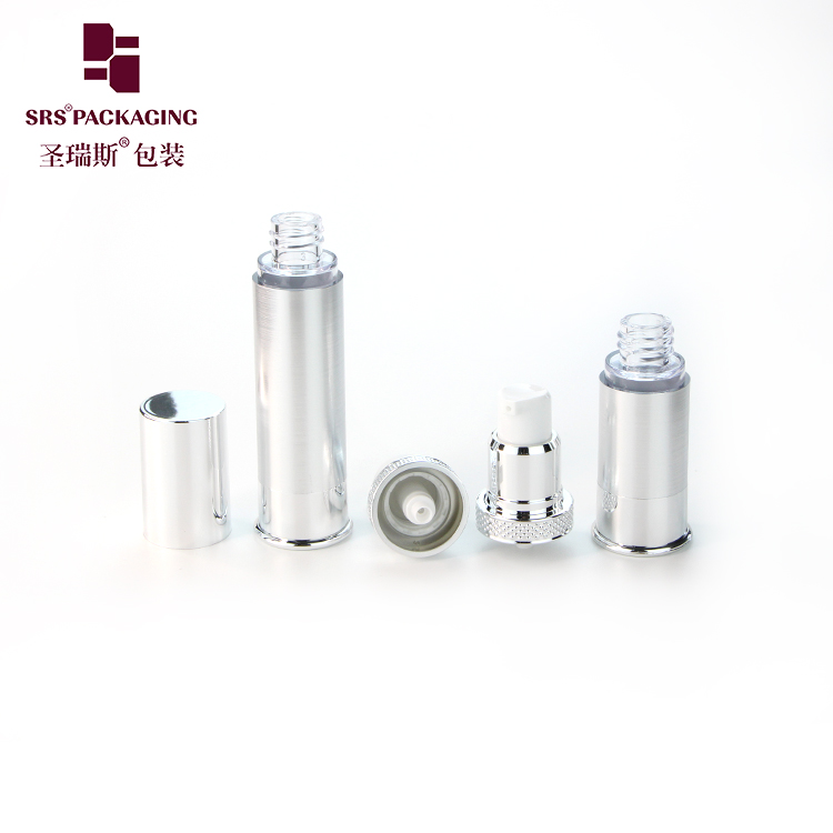10ml 15ml 20ml 30ml silver cosmetic vacuum airless pump bottle