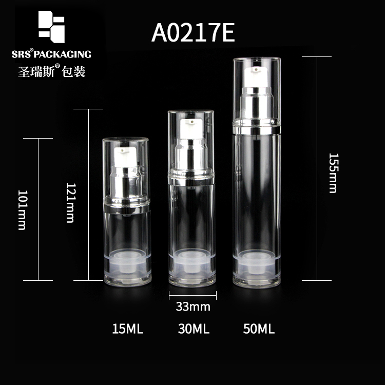 Wholesale Custom 15ml 30ml 50ml Metalized Aluminum Silver Airless Lotion Pump Bottle For Body Cream With Lairless