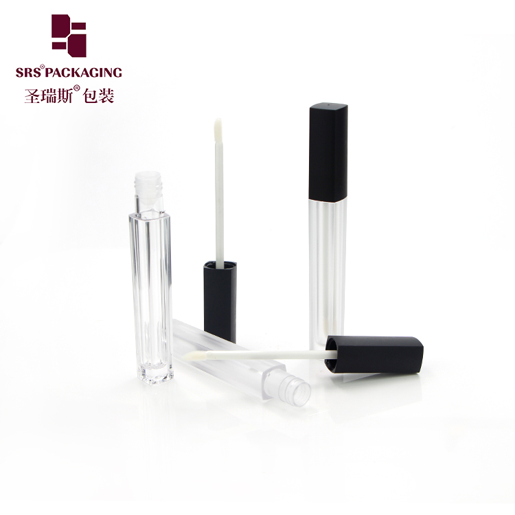 Lip gloss tube container 5ml square makeup cosmetic packaging with applicator