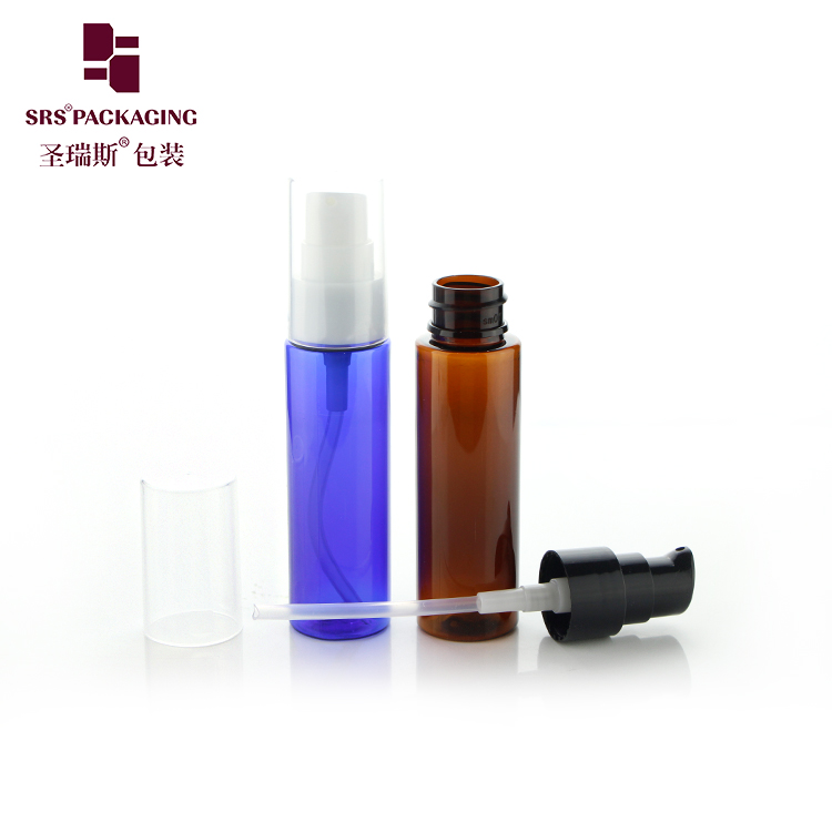 30ml 50ml PET plastic customized color empty alcohol round spray bottle