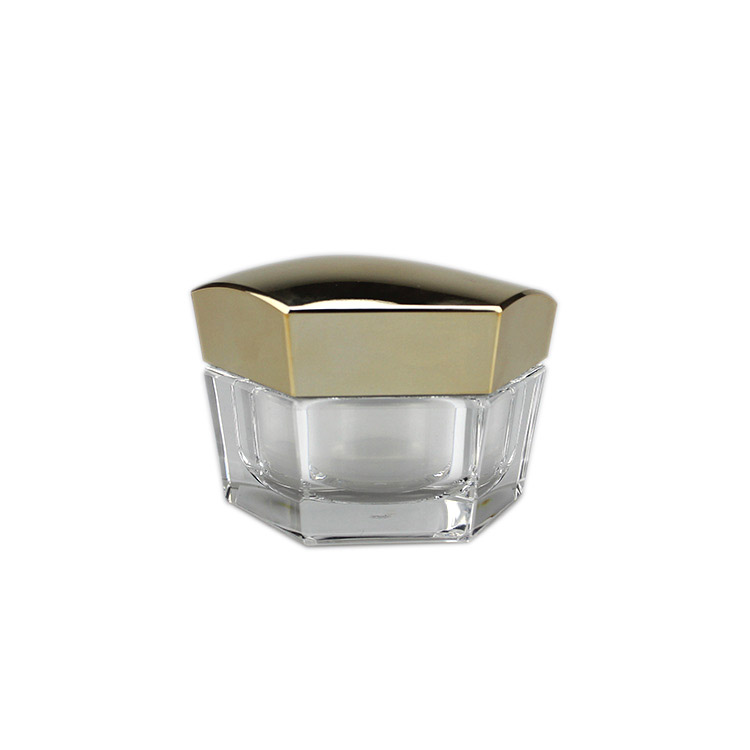 J601 new hexagon shape empty acrylic cream jar