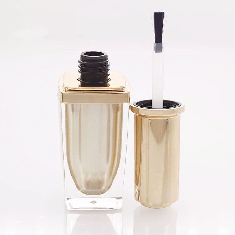 NP004 empty square plastic cosmetic nail gel polish Bottle with brush