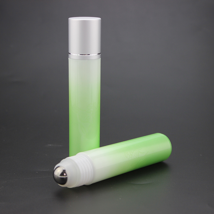 35ml empty cylinder green bottle with roller ball 100pcs