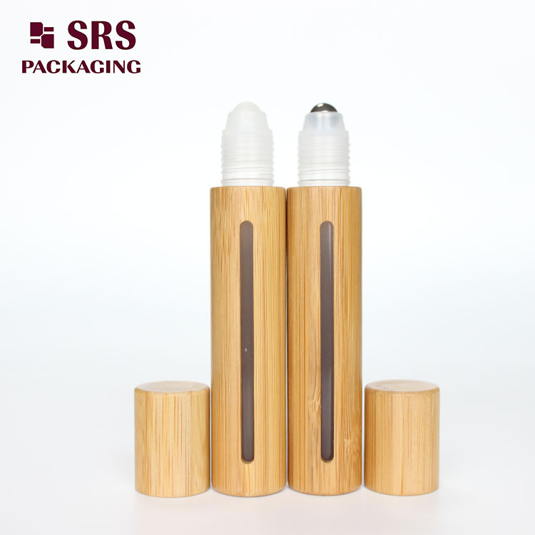 15ml bamboo plastic roll on bottle with window
