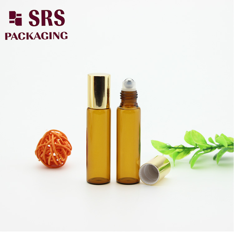 5ml Perfume Oil Bottle Amber Glass Roll on Cosmetic Vial