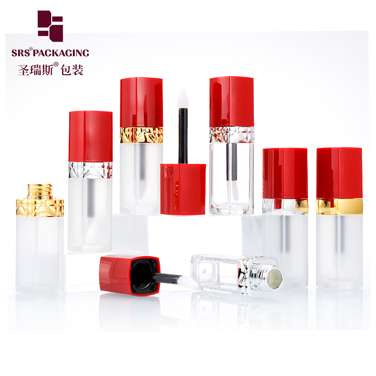 5ml square shape plastic frosted empty high quality mini lipgloss tube