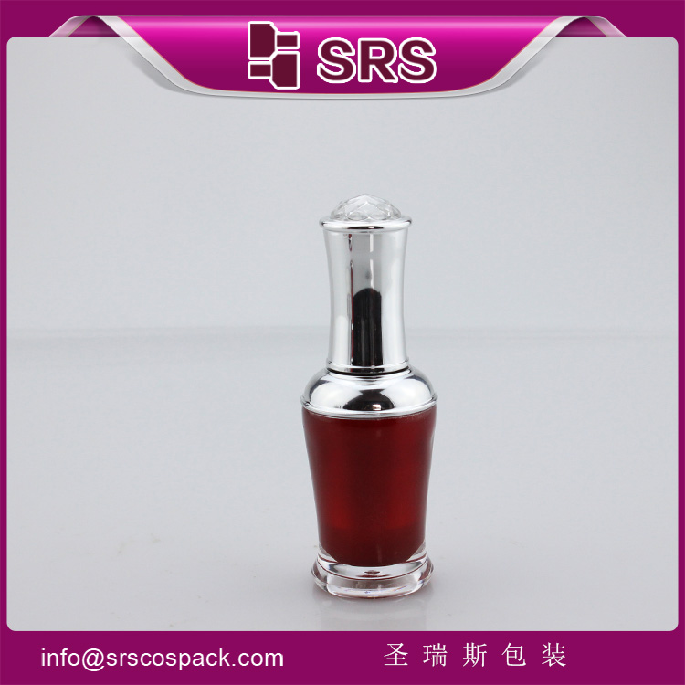 NP008 Acrylic red Double Wall Empty Nail Polish Bottle with Brush