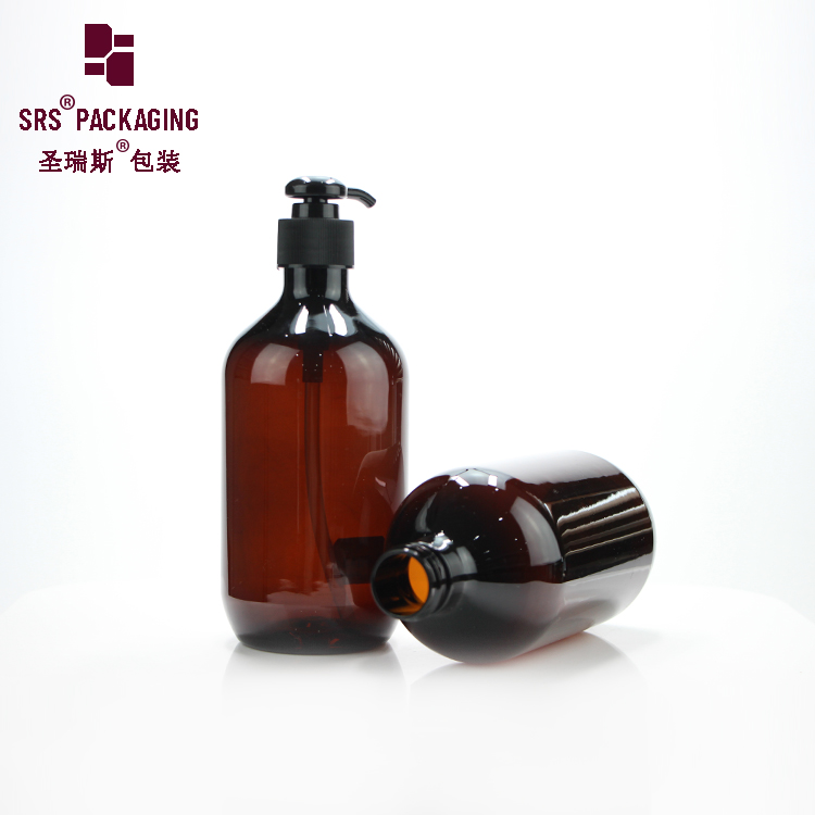 Amber lotion pump plastic container PET 500ml bottle for luxury shampoo