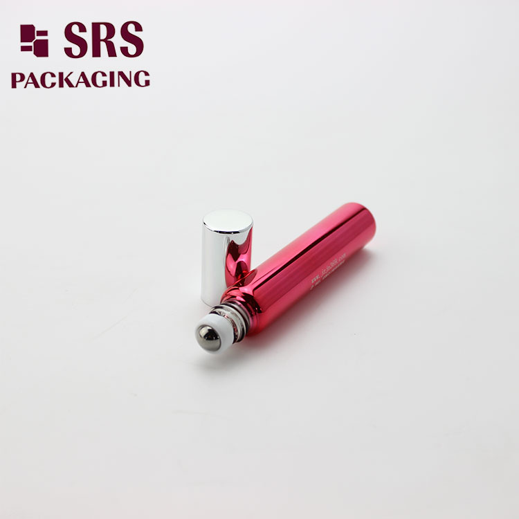 SRS Red Metalized Glass 8ML Roller Ball Argan Oil Bottle