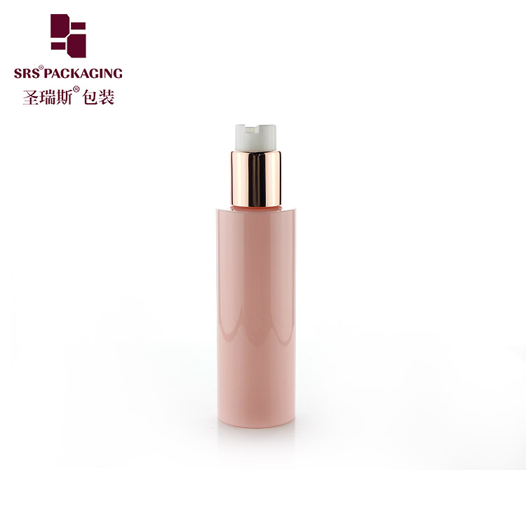 Best Selling Eco Friendly PET Plastic Pink white Cosmetic skin care set lotion pump container 120ml