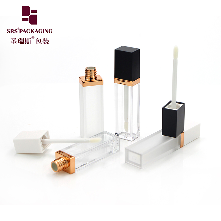 Chinese manufacturer mini lip gloss bottle empty 7ml square plastic make up cosmetic packaging