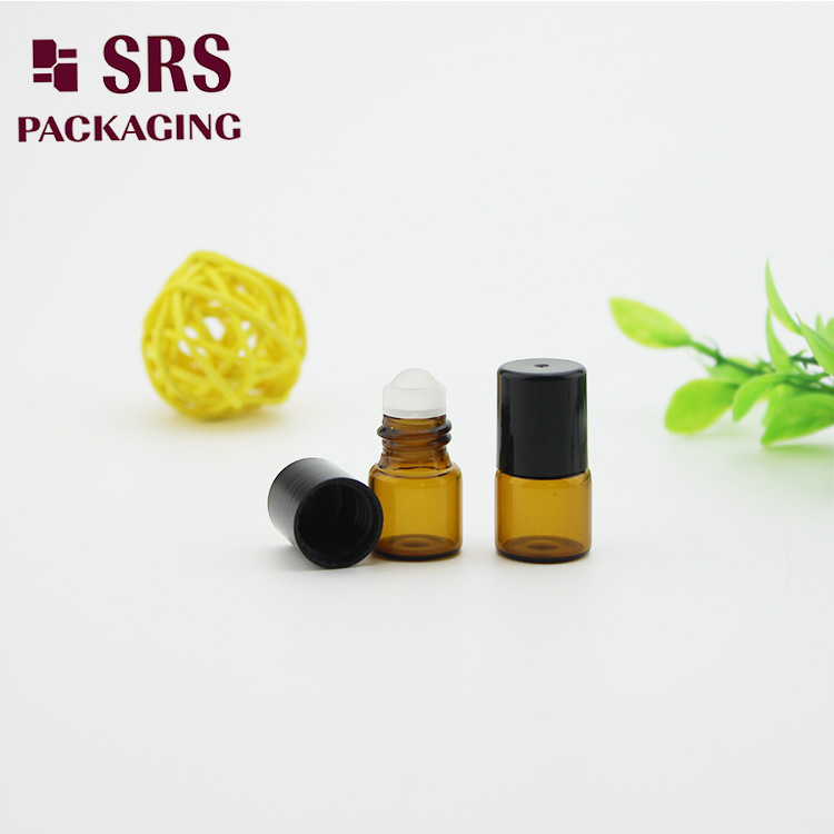 Cosmetic 1ml Amber Perfume Bottle with Glass Roller Ball