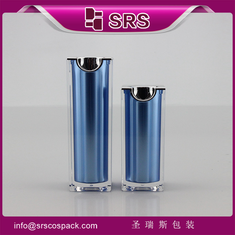 A050 SRS Cosmetic Blue Color Square Shape Acrylic Airless Lotion Bottle
