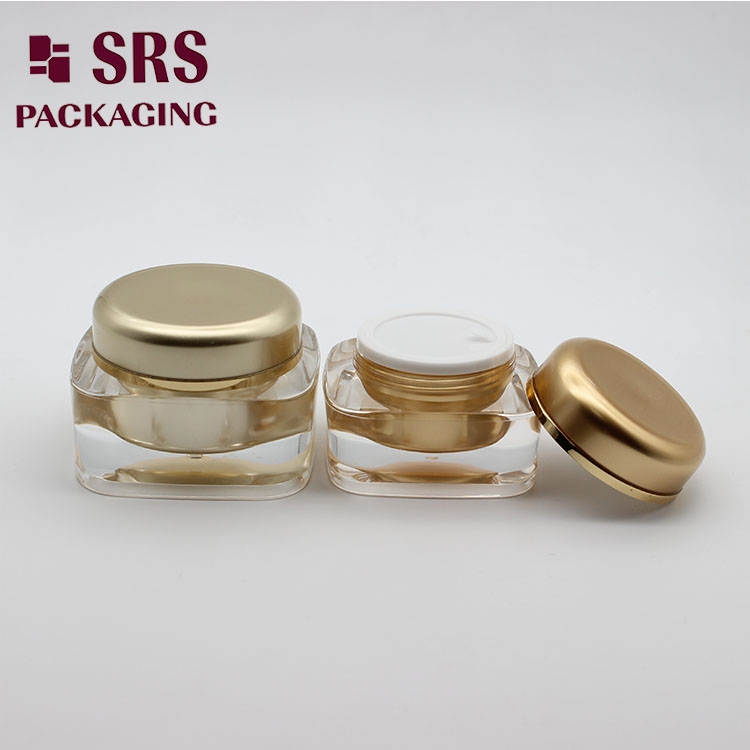 J051 Custom 5g 10g Square Cosmetic Nail Gel Jar with Golden Lid