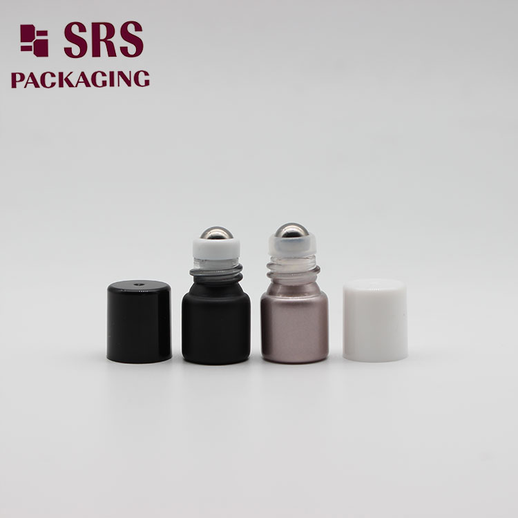 Empty Cosmetic Balck sample Mini 1ml Glass Bottle Roller Ball