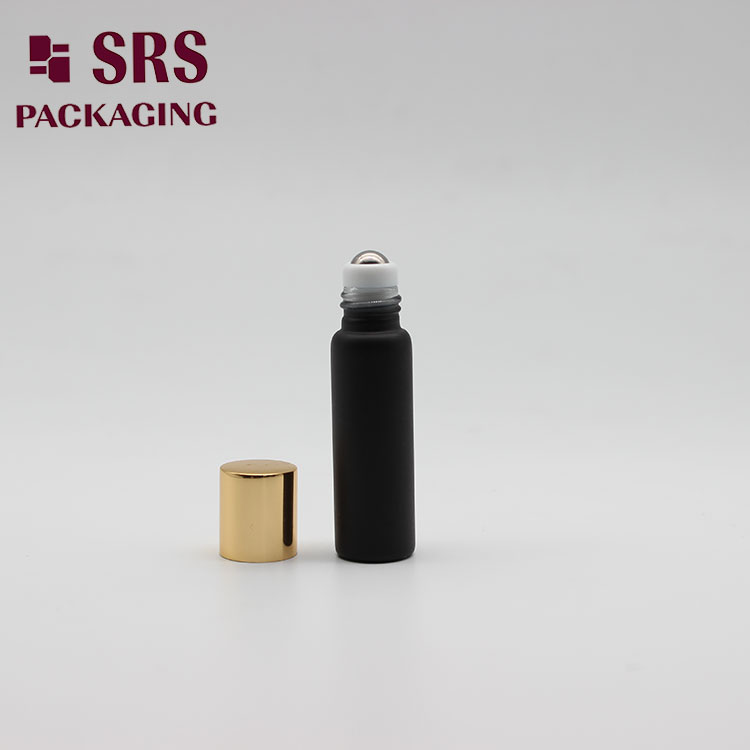 Empty Matte Black Color 5ml Glass Roll on Bottle for Perfume