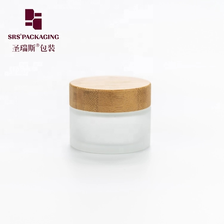 Wholesale 15g 30g 50g 100g glass facial cream container jar with bamboo lid
