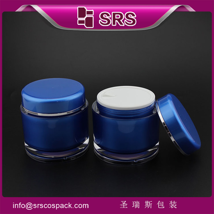 J020 classic blue round plastic hair product jar 200ml