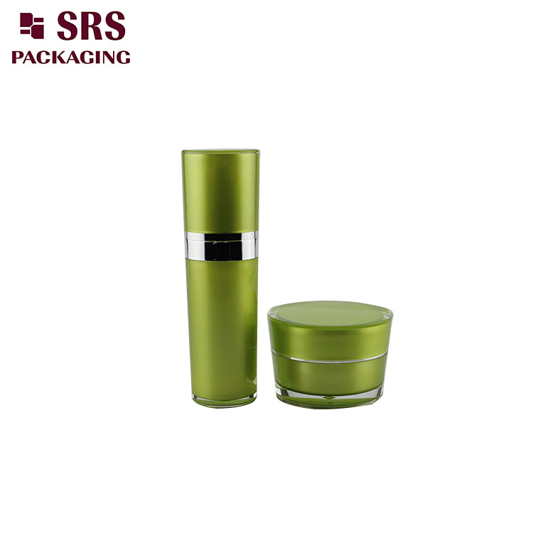 L030&J030 cone shape green empty 50ml acrylic cosmetic bottle jar