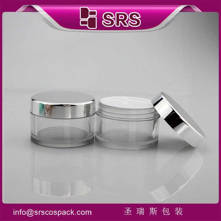 SRS 50ml empty plastic clear PETG cream jar with silver cap