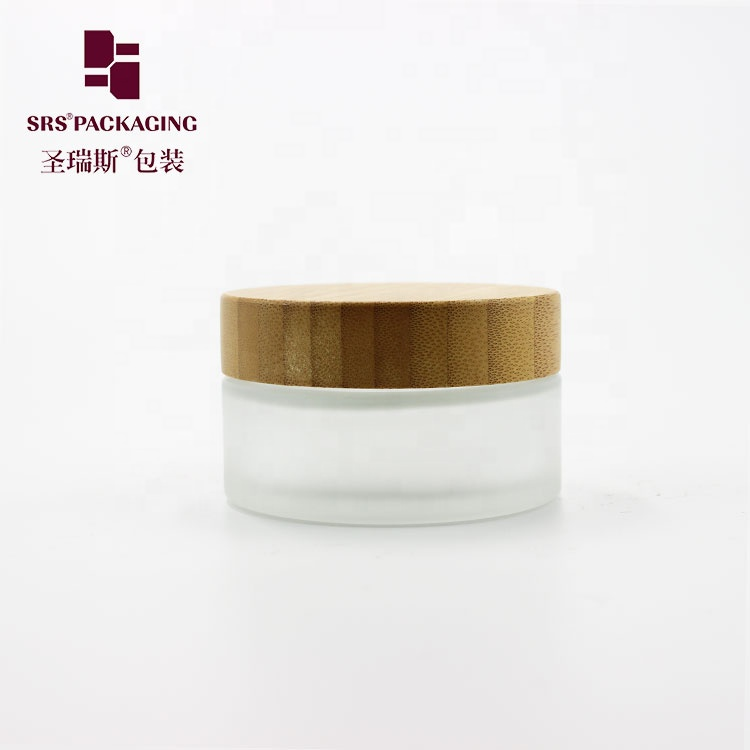 Refillable matte transparent luxury cosmetic cream bamboo glass jar
