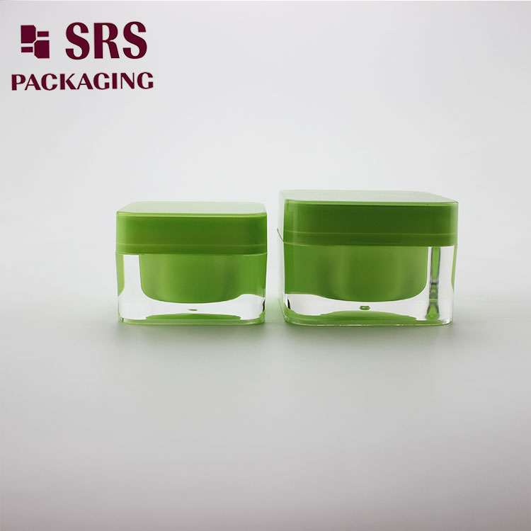 J056 SRS Cosmetic Green Color Square Shape 30g Cosmetic Acrylic Jar