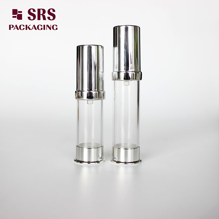 A0214B SRS Empty Mini Silver Color Plastic 5ml 10ml Airless Bottle