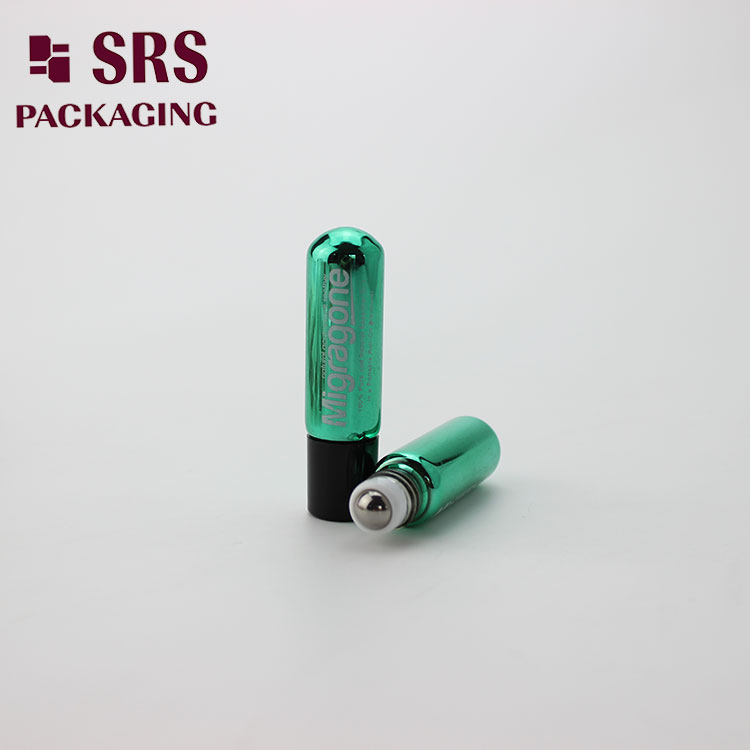 SRS Green Color 4ml Roll on Essential Oil Glass round Bottle