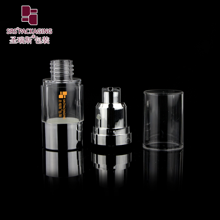 SRS high quality shiny silver 15ml 30ml 40ml 50ml 80ml 100 ml 120ml airless bottle with lotion pump