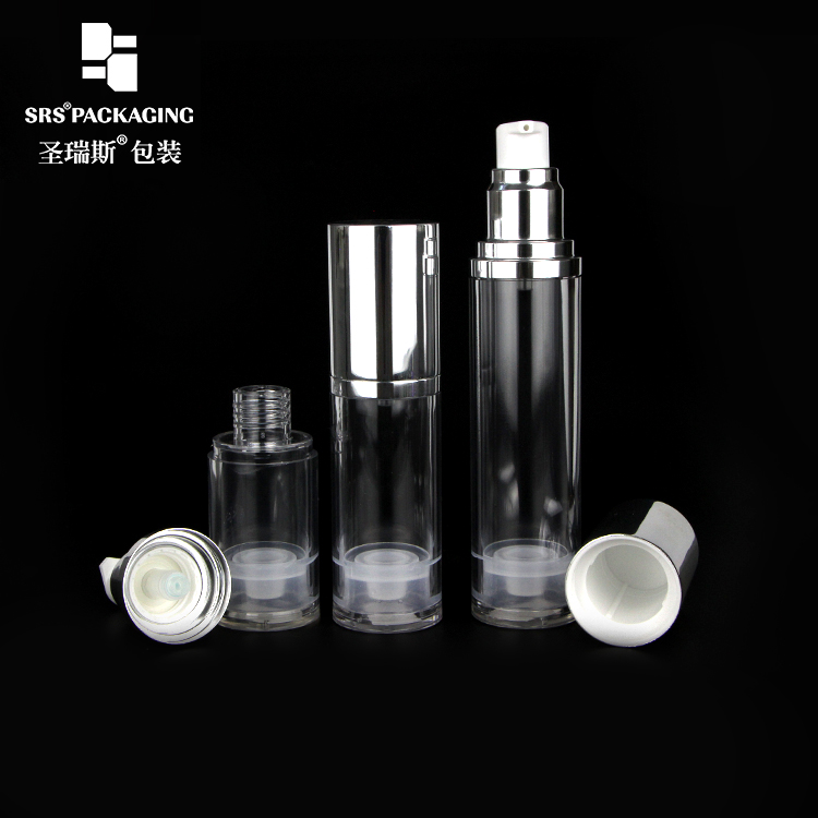 SRS high quality round shape clear bottle various volumes is available AS airless bottle with lotion pump