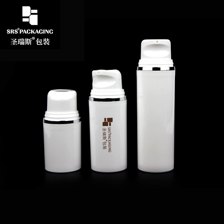 SRS high quality round shape small volume 15ml 30ml 50ml hot-stamping silver line on airless white bottle