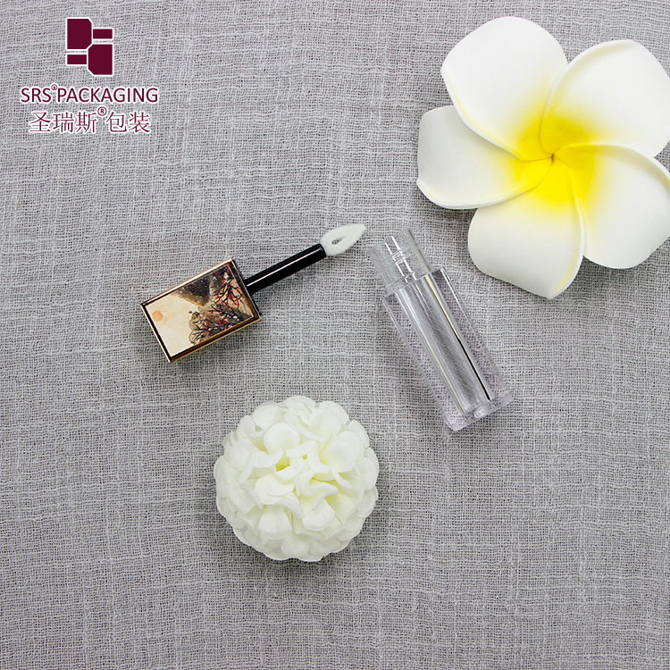 SRS private label 4.5ml gold cap transparent plastic bottle square shape empty lip gloss tube