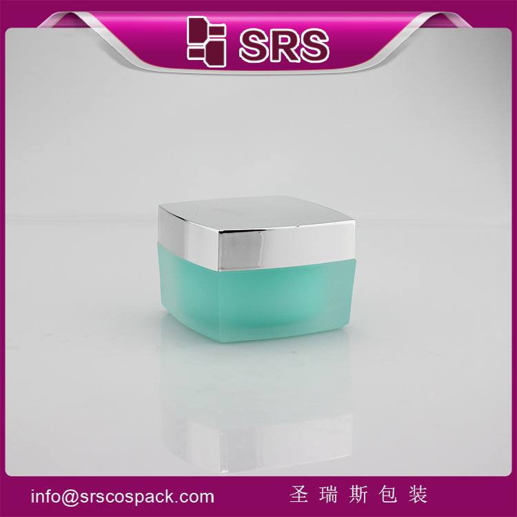 J050 Square Empty green 50g Luxury Acrylic Cream Cosmetic Jar