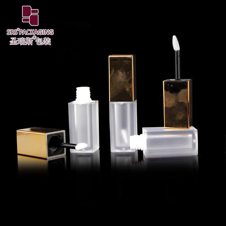 Square shape paint black color empty luxury lipgloss packaging