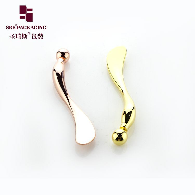 Wholesale metal  make up cosmetic spatulas spoon rose gold silver color private label cream applicator
