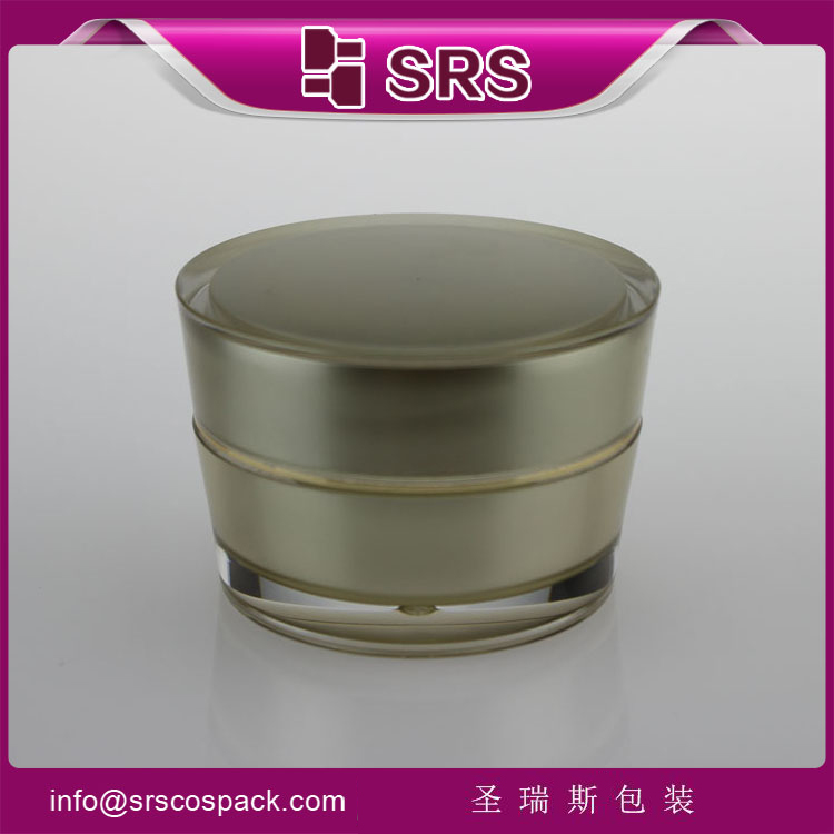 J030 acrylic cone sahpe 50ml gold cosmetics packaging jar