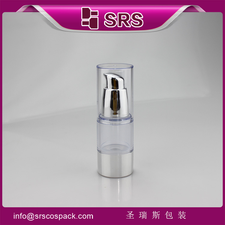 A027 AS Material Empty Round Metalized Silver Airless 15ml Bottle