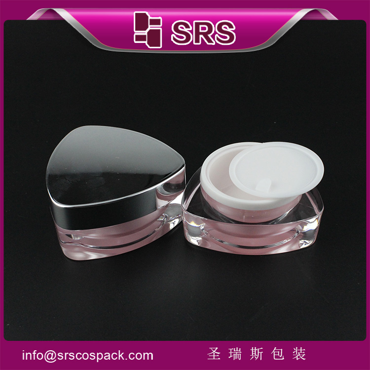 J080 empty pink triangle 10ml luxury acrylic lip balm jar