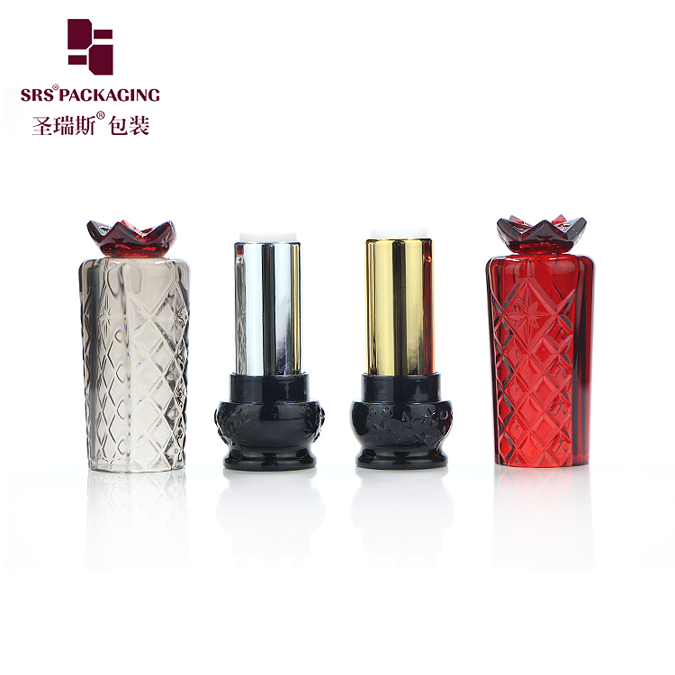 new arrival high quality hot sale no logo drum shape semitransparent red gray color carving patterns lipstick tube